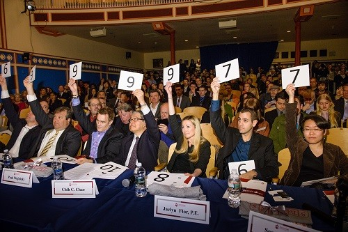 Photo: Judges rate the pitches at the competition. Photo Credit: Courtesy Stevens Institute of Technology