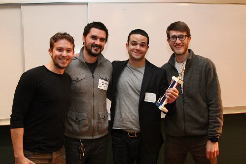 Photo: The Pijon team won the audience choice award at the NJ Tech Meetup in January. Photo Credit: Dominic Rivera