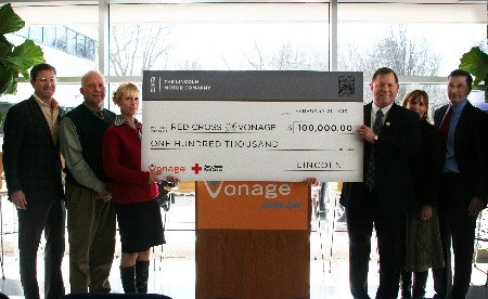 Photo: Lincoln presents Vonage employees with a check to the Red Cross for $100,000. Photo Credit: Lincoln Motor Company