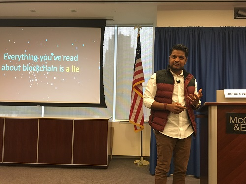 Richie Etwaru speaking at McCarter & English recently