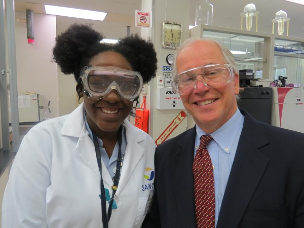 An intern at the S2S Newark Technology Center with Dr. Paul Winslow