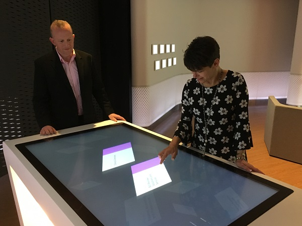 Demonstration of the digital touch table at Conduent